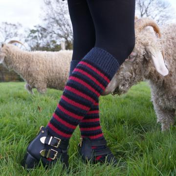 Mi-bas ou chaussettes longues et chaudes mohair unies et rayées Triskel