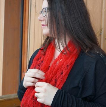 Écharpe plume mohair et soie tricotée