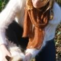 Écharpe tricotée mohair et soie